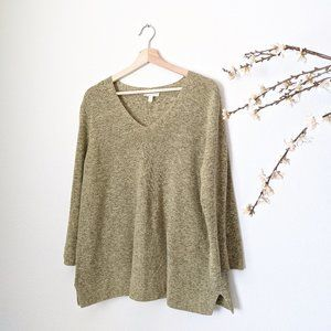 Eileen Fisher Organic Cotton Knit Top Olive Large
